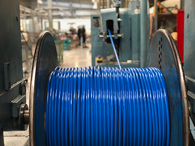 spooling cable in the workshop